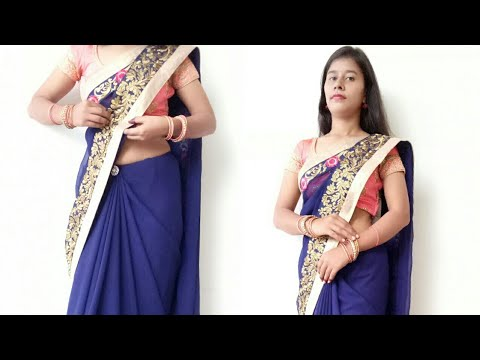 How to Drape Perfect Border to Border Georgette Saree to look Slim and Tall