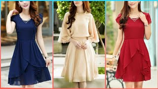 New Casual Styles Of Womens Plain Chiffon Mini Dresses Collection
