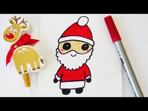 Kawaii Weihnachtsmann Zeichnen Susser Nikolaus Als Weihnachtsdeko