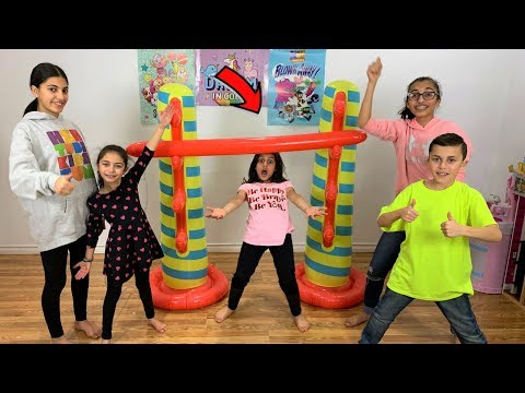 Kids Inflatable Limbo Challenge!! with HZHtube kids fun family game