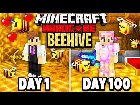 I Survived 100 Days in the BEE DIMENSION in HARDCORE Minecraft...
