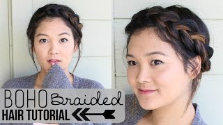 Boho Braided Updo Hair Tutorial | JaaackJack
