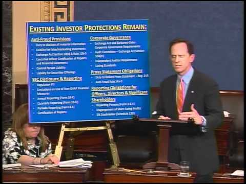 Sen. Toomey urges passage of JOBS Act in Senate floor speech
