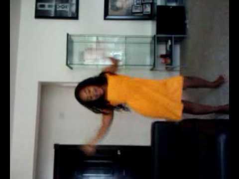 Little girl orange dress dancing to imma be!!