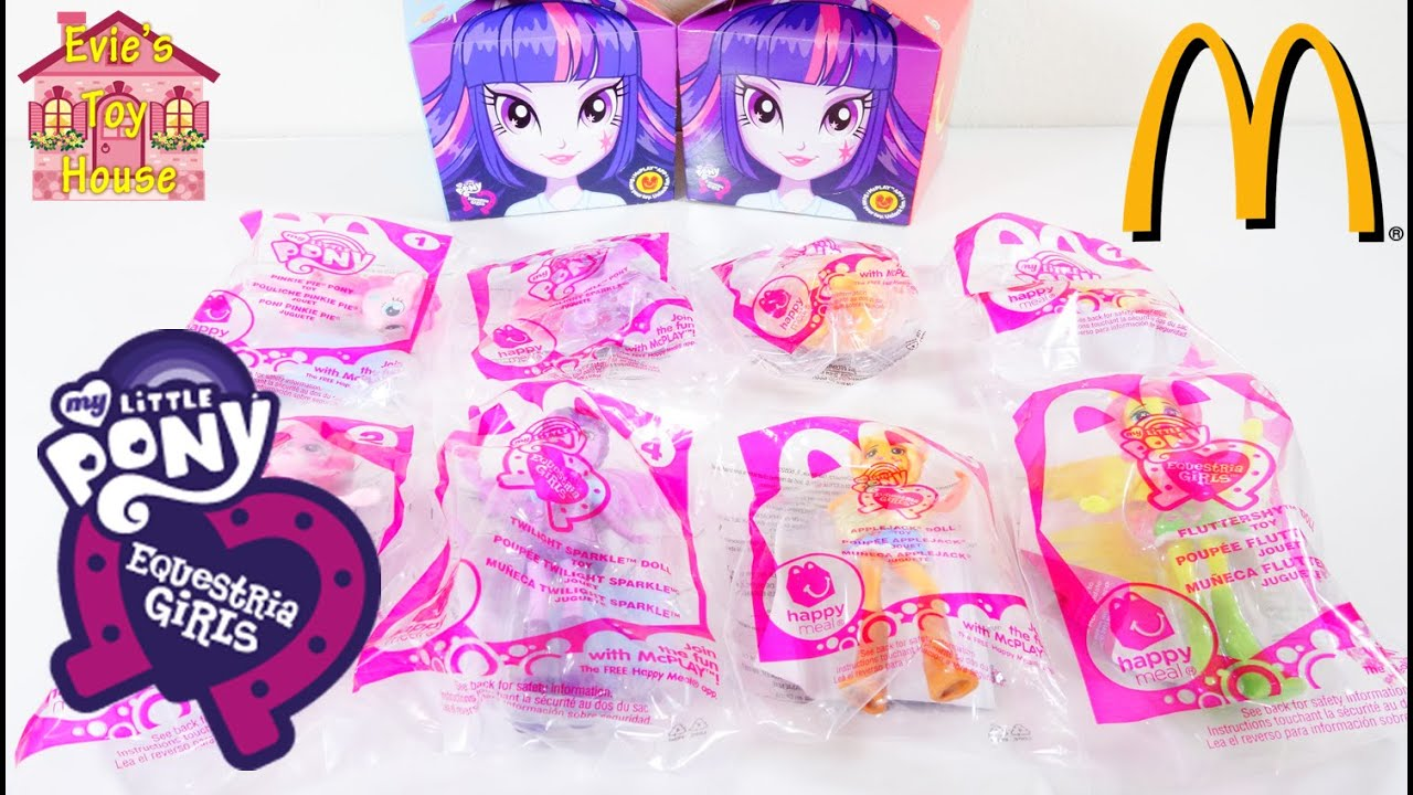 2015 My Little Pony Equestria Girls McDonalds Toys - Pinkie Pie Twilight Applejack Fluttershy