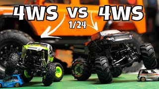 HBX Devastator Vs WLtoys 24438B. 1/24 Four Wheel Steer Micro Crawlers.