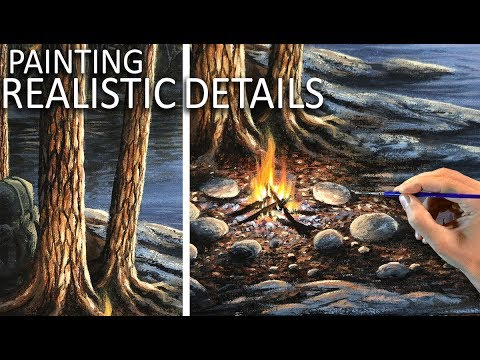 HOW TO PAINT REALISTIC DETAILS | Tree bark & rocks