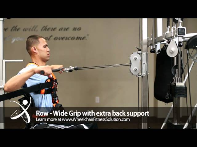 Wheelchair Fitness Solution | Exercise: Row – Wide Grip with Extra Back Support (24 of 40)