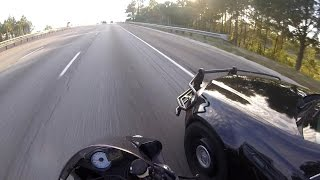 Sportbike Runs From Police And Almost Gets Hit By A Cop At 125MPH 2016