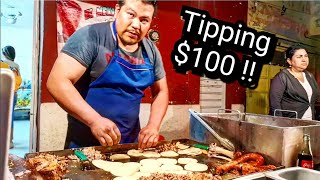TIPPING $100 Dollars In Mexico - BEST Tacos Ever!! - Mexican Street Food HEAVEN - El Mexicanito Taco