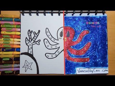 Menggambar Dan Mewarnai Gurita Untuk Anak Anak Balita Belajar