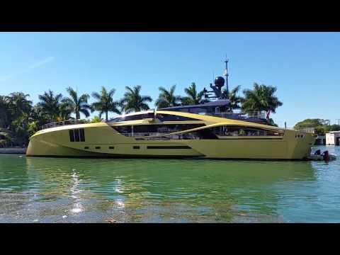 Palmer Johnson Gold Mega Yacht visits Miami Beach