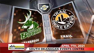 HIGHLIGHTS: Cranbrook Bucks @ Trail Smoke Eaters – April 7th, 2021
