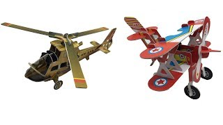 DIY Miniature Helicopter Apachi & Biplane Adonis ~ 3D Super Puzzle