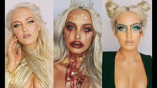 3 MAKEUP LOOKS FOR HALLOWEEN - Khaleesi | Butterfly Fairy | Bloody Ice Queen | Deck Of Scarlet