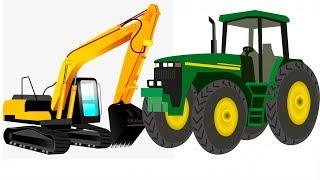 Мультики про машинки - Сборник Все серии Трактор Экскаватор - Развивающий Мультик для детей