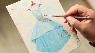 Beautiful Blue Dress Sketch With Flowers - Acrylic Painting / Homemade Illustration