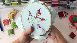 Autumn Leaf hand embroidery stitch along. Part 2