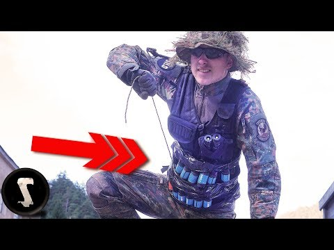 Guy Brings Home-made Rigged Airsoft GRENADE VEST!