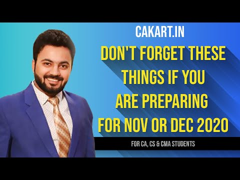 Don't forget these things if you are preparing for Nov or Dec 2020
