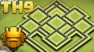 Town Hall 9 Best TROPHY Pushing/HYBRID Base (TH9 TROLL MASTER BASE) 2016 + Defence Replays