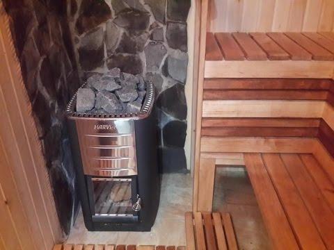 Маленькая сауна на дровах печка Harvi