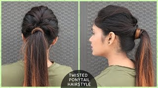 Messy Twisted Ponytail Hairstyle For College/School/Function