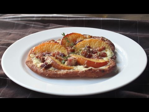Fried Peach & Pancetta Pizza – Fried Pizza Dough topped with Peaches and Pancetta
