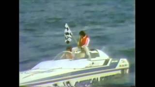 A racer's dream! The checkered flag! Jimmy Cazzani offshore powerboat racing superboat catamaran