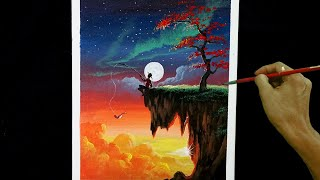 Easy Acrylic Painting Tutorial | Sunset And Moon Rise With Boy Fishing