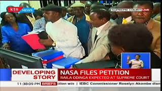 Raila Odinga arrives at the Supreme Court to challenge Uhuru Kenyatta's presidential poll win