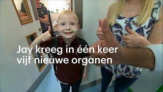 Jay (7) krijgt in één keer vijf nieuwe organen en kan eindelijk weer eten - RTL NIEUWS