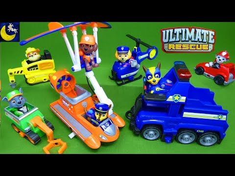 Paw Patrol Ultimate Rescue Toys Mini Vehicles Collection Fire Truck Mighty Pups Chase Unboxing Toys