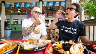 Food in Florida!! 🦐 SWEET PINK SHRIMP + Yellowtail Snapper in Key Largo, USA!