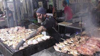 Giant Grills with Massive Dose of Roasted Meat. Argentina Street Food