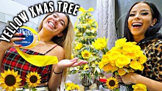 making a yellow sunflower christmas tree with amber scholl!   vlogmas day 13