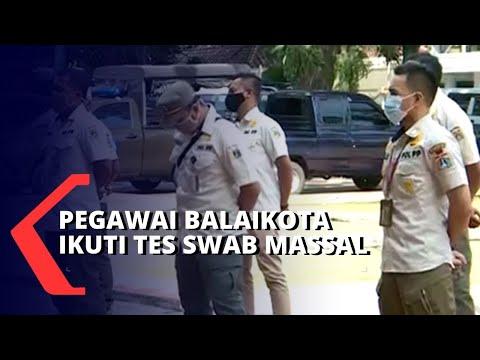 gubernur anies positif corona pegawai di balaikota ikuti tes swab massal