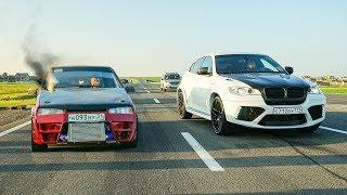 ПОПЫТКА на ТУРБО ВАЗ 2108 шокировать БУРЖУЕВ: BMW X6M , FERRARI FF и NISSAN GT-R 700 СИЛ!