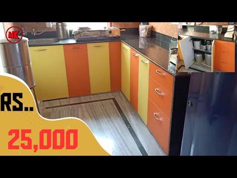 9×2.5 modular kitchen design | cabinet 7× 1.5 | yellow and orange modular kitchen