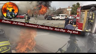 2nd Alarm Commercial Structure Fire • Auto Shop • Roof Work