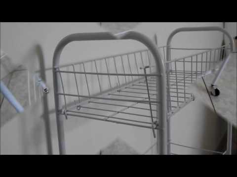 Carrello da cucina bagno con 3 cesti in acciaio dipinto di bianco 50X21X81cm ArtMoon