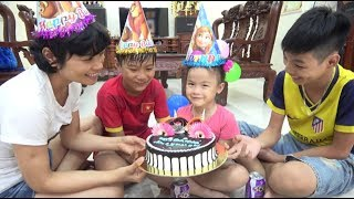 Happy birthday day cake with Abckkidtv Misa and family fun for kids - Happy birthday song for baby