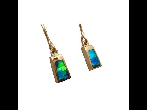 Green Opal Earrings Short Drop 14k Yellow Gold - 6108   FlashOpal