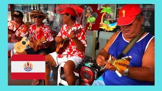 TAHITI, singing and playing the 🎸 Ukulele in the streets of PAPEETE, watch!