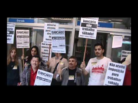 Bancário não Trabalha Sábado - Categoria faz manifestação no Centro de Santos