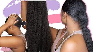 Natural Sleek Low Braided Ponytail W/ Marley Hair