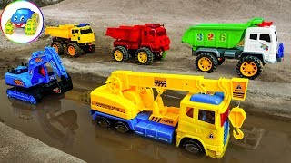 Crane Truck Excavator Dump Truck Repair But Broken Road