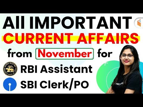RBI Assistant & SBI Clerk/PO | All Important Current Affairs from November