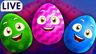ChuChuTV Surprise Eggs Old MacDonald Had A Farm - Farm Animals, Wild Animals & More for Kids - LIVE