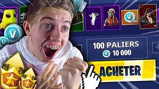 J'ACHÈTE TOUT LE NEW PASS DE COMBAT SAISON 8 LEVEL MAX SUR FORTNITE BATTLE ROYALE !!!